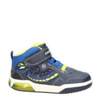 Geox Inek  hoge sneakers met lichtjes blauw, Blauw/geel
