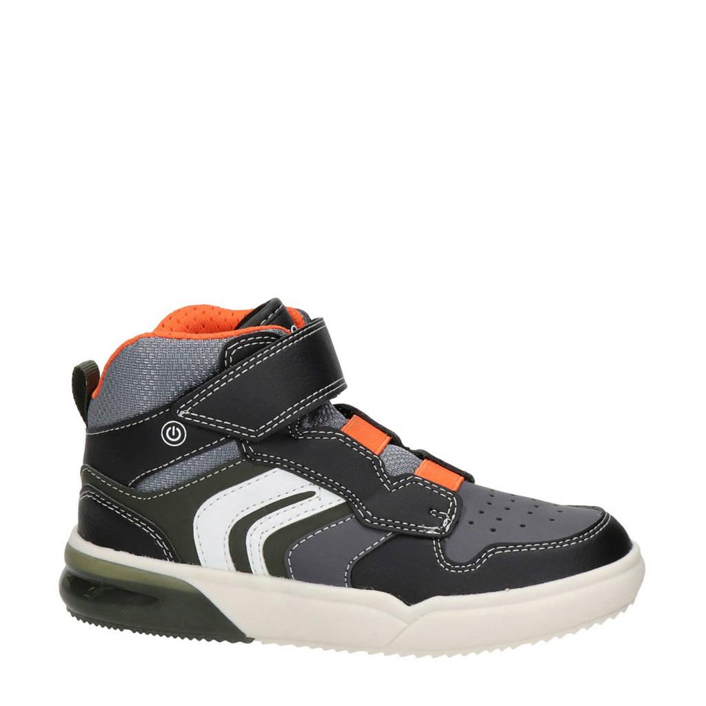 Geox Grayjay  hoge sneakers met lichtjes zwart/oranje, Zwart