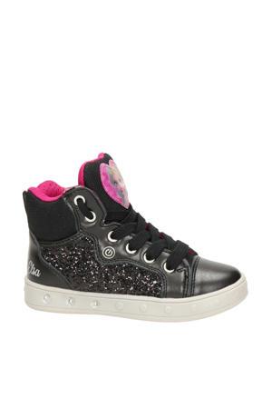 Skylin Frozen  hoge sneakers met lichtjes zwart/roze