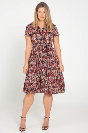 blousejurk met all over print en ceintuur zwart/rood/roze