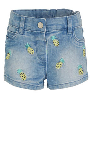 jeans short met all over print en borduursels light denim