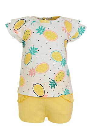 baby T-shirt met short en haardband geel