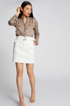 blouse met all over print beige/zwart