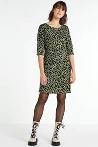 anytime jurk panterprint groen, Groen/zwart