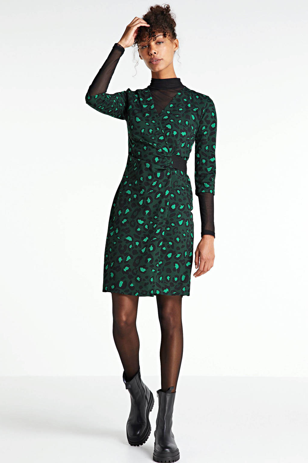 anytime wikkel-look jurk panterprint groen, Groen