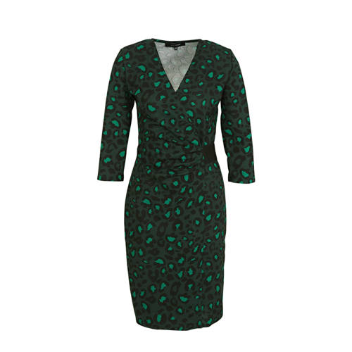 anytime wikkel look jurk panterprint groen