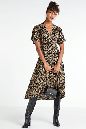 jurk met panterprint camel/zwart/goud