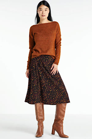 A-lijn rok met panterprint rood/zwart