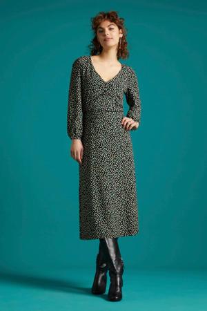 gebloemde jurk Lynn Sevres zwart/wit/groen