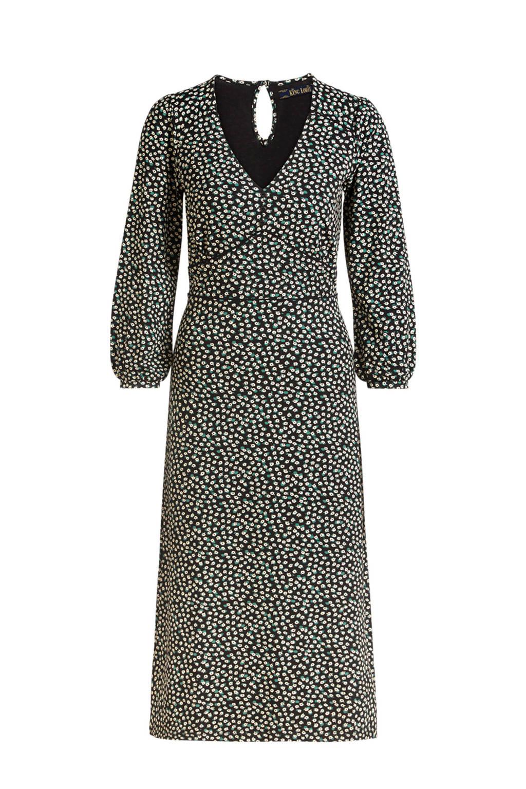 King Louie gebloemde jurk Lynn Sevres zwart/wit/groen, Zwart/wit/groen