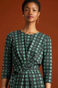 King Louie jurk Hailey Aberdeen met all over print en ceintuur groen, Groen