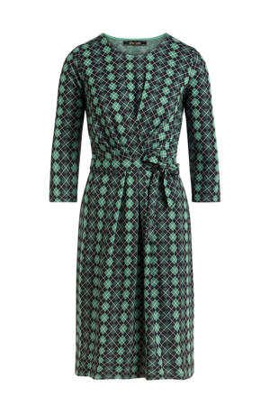 jurk Hailey Aberdeen met all over print en ceintuur groen