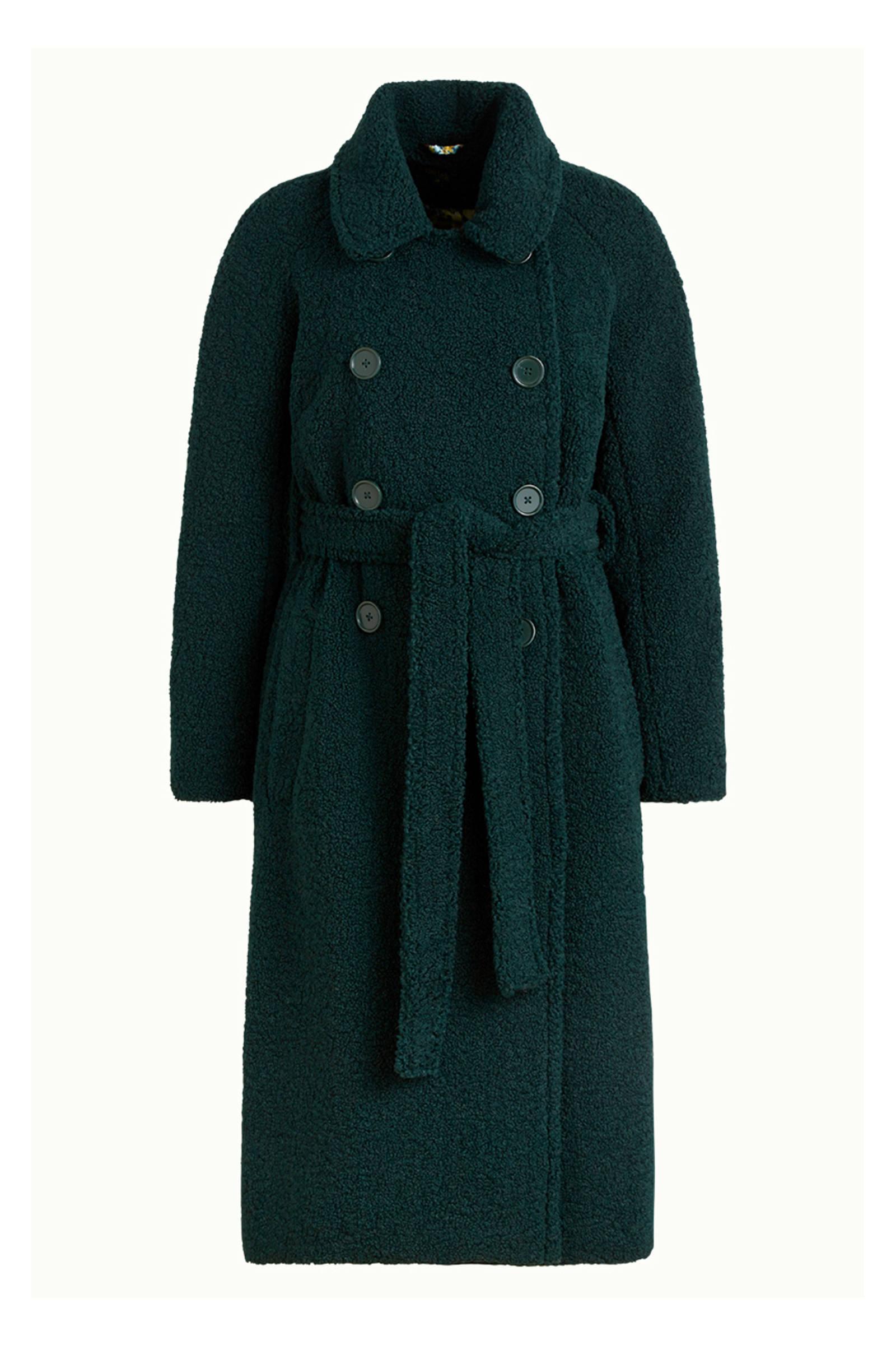 King Louie teddy jas Edith Murphy met ceintuur donkergroen