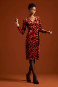 King Louie gebloemde fluwelen overslagjurk Anja Ceylon rood/zwart/oranje, Rood/zwart/oranje