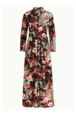 maxi blousejurk Rosie Lilo met all over print en ceintuur rood/groen/blauw