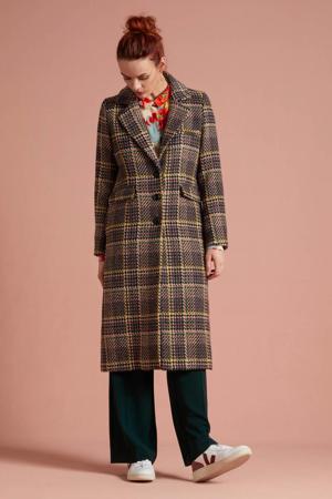 geruite coat McKenna Brazza met wol rood/zalm/geel