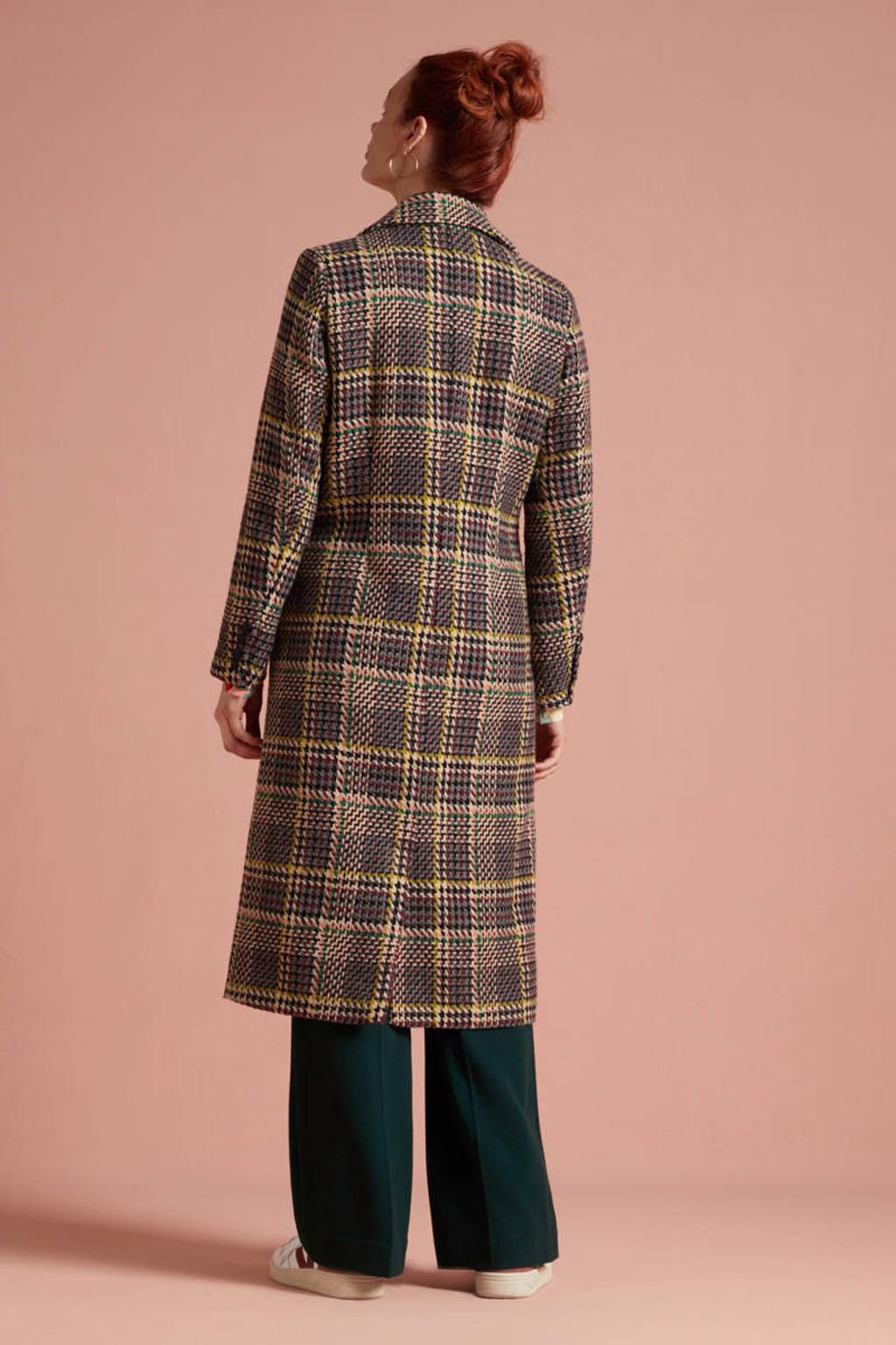 King Louie geruite coat McKenna Brazza met wol rood/zalm/geel, Rood/zalm/geel