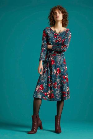 gebloemde A-lijn jurk Betty Harajuku petrol/rood/lichtblauw