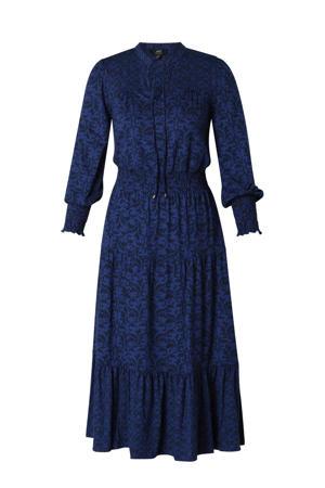 maxi jurk met all over print en plooien donkerblauw/zwart