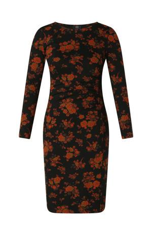 gebloemde jurk zwart/rood/goud