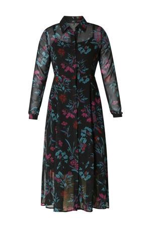 gebloemde semi-transparante blousejurk zwart/roze/blauw