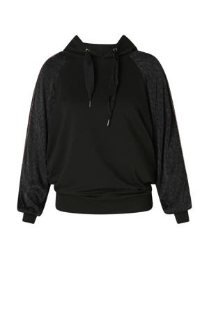 hoodie met contrastbies en glitters zwart/goud