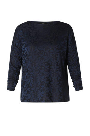 top met all over print donkerblauw/zwart