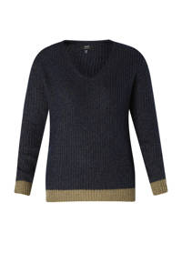 Yesta gebreide trui met glitters donkerblauw/beige, Donkerblauw/Beige