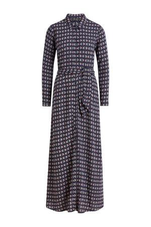maxi jurk Rosie Warrior met all over print en ceintuur donkerblauw/wit/rood
