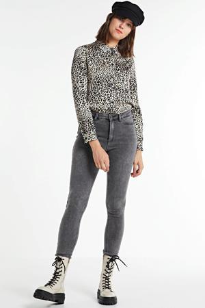 blouse Milan met panterprint beige/zwart