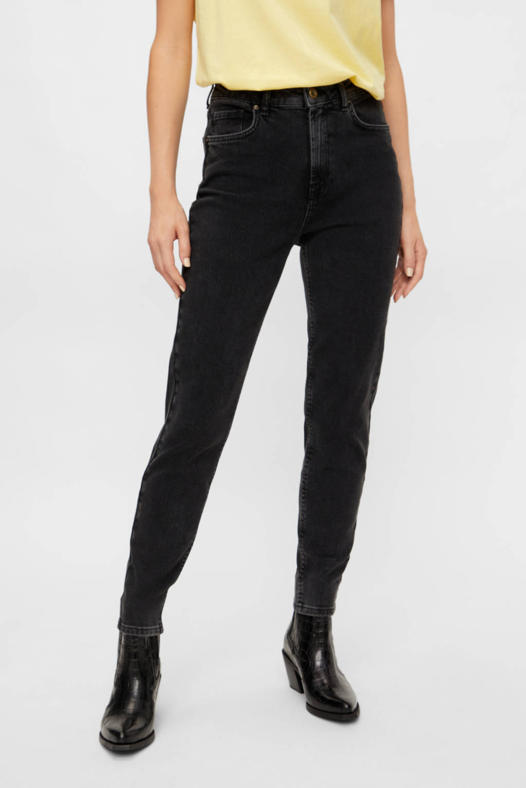 PIECES high waist slim fit jeans zwart, Zwart