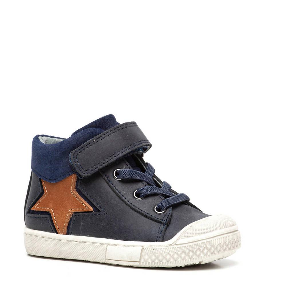 Scapino TwoDay   hoge leren sneakers donkerblauw, Blauw/bruin