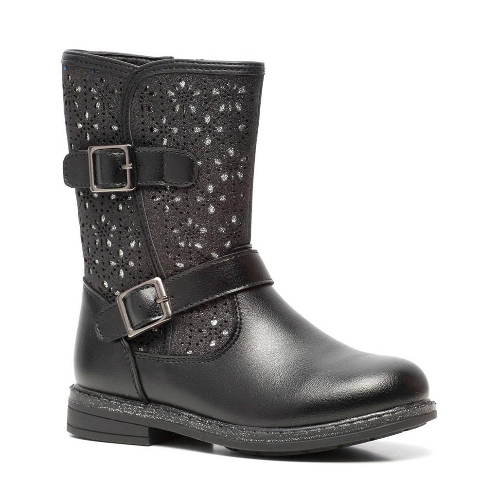 Scapino Blue Box   laarzen met glitters zwart, Zwart