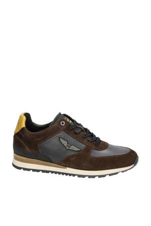 Runner Lockplate  suède sneakers bruin
