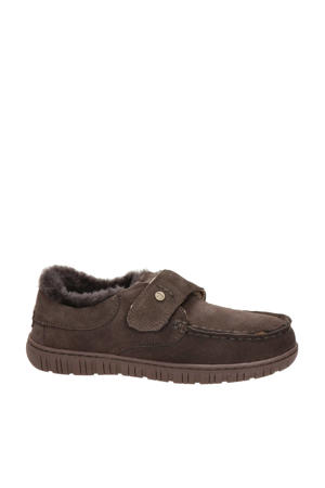 suède pantoffels bruin