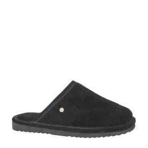 gevoerde suède pantoffels zwart