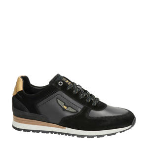 Runner Lockplate  suède sneakers zwart