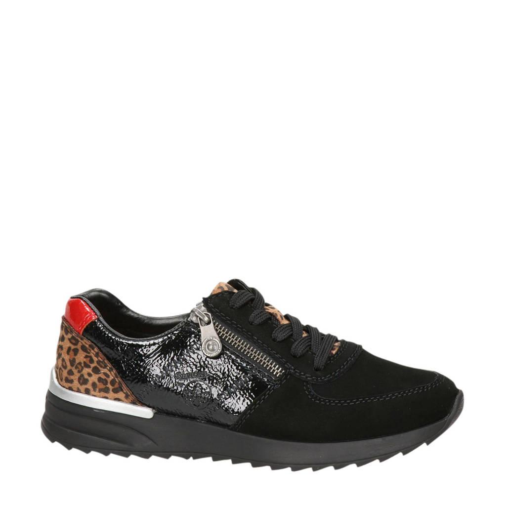 Rieker   suède sneakers zwart/panterprint, Zwart/bruin/rood