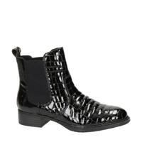 Rieker   lak chelsea boots crocoprint zwart, Zwart