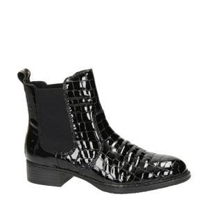 lak chelsea boots crocoprint zwart