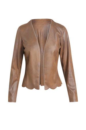 coated jasje met glitters cognac