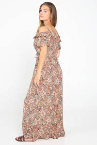 Cassis off shoulder maxi jurk met all over print en ruches camel, Camel