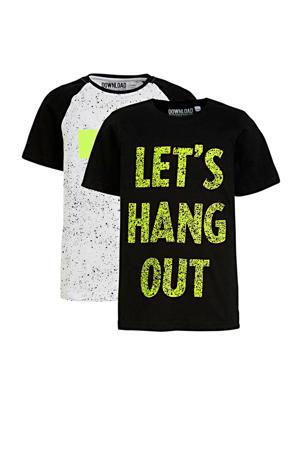 T-shirt - set van 2 wit/zwart/geel