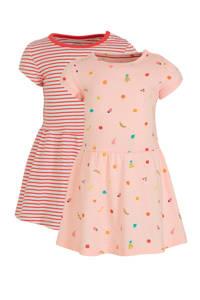C&A Baby Club jurk - set van 2 roze/rood, Roze/rood
