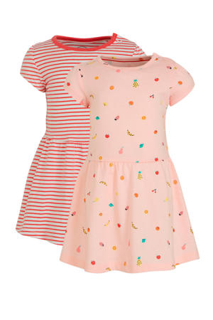 jurk - set van 2 roze/rood