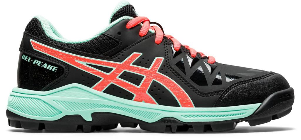 ASICS Gel-Peake GS hockeyschoenen zwart/koraal/mintgroen, zwart/oranje/mint