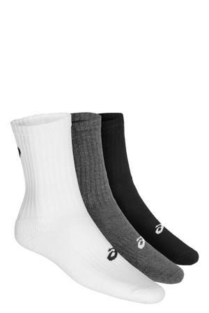 sportsokken wit/zwart/grijs (set van 3)