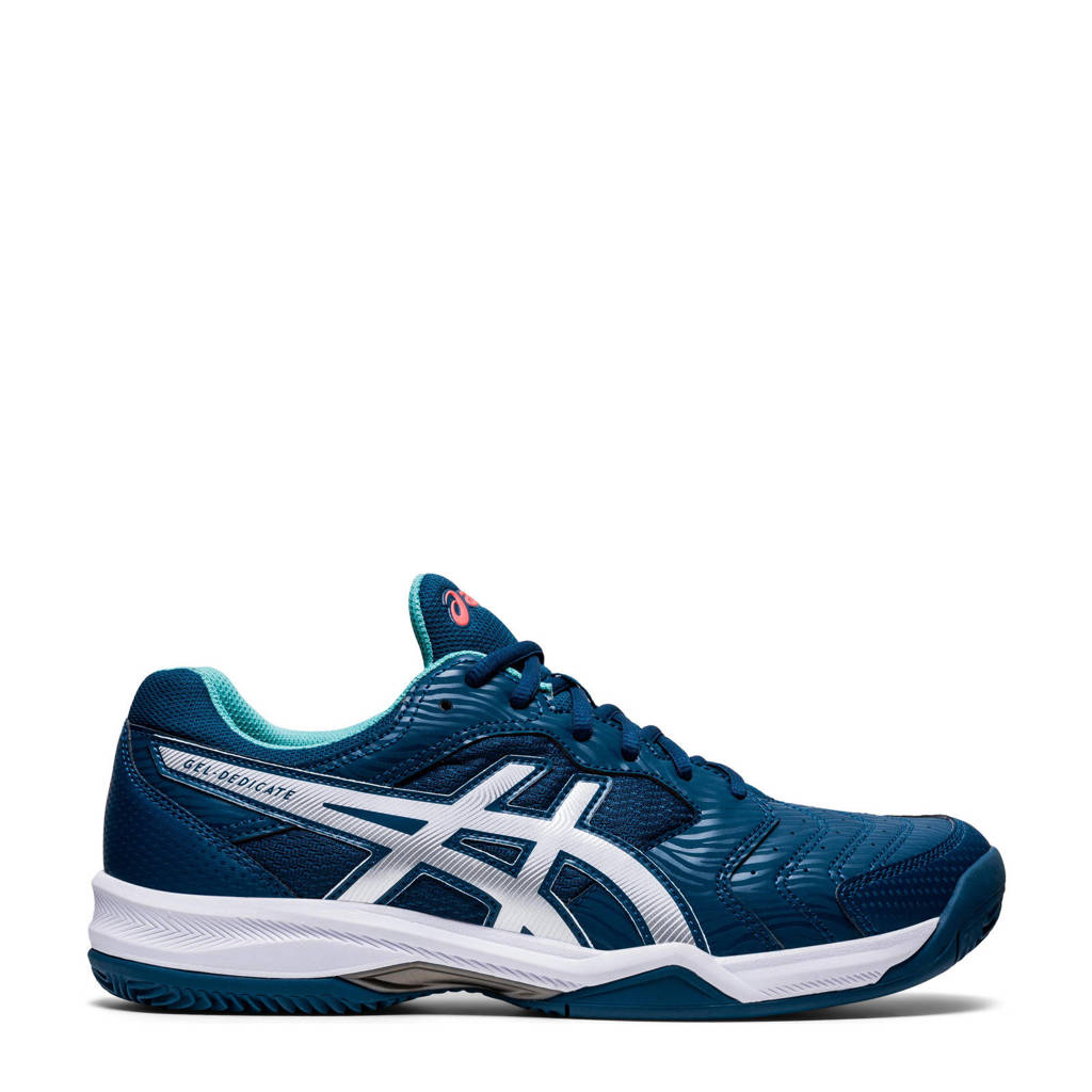 ASICS Gel-dedicate 6 Clay tennisschoenen blauw/wit/turquoise, Donkerblauw/wit/turquoise