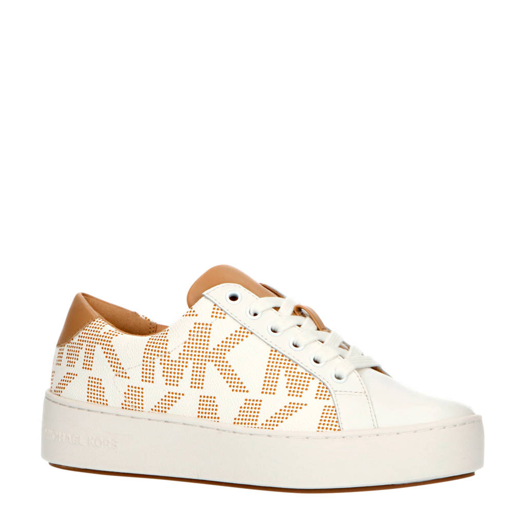 Michael Kors Poppie Lace Up  sneakers wit/beige, Beige