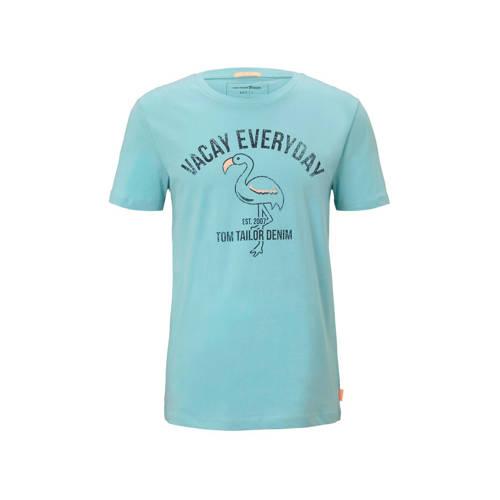 Tom Tailor T-shirt met printopdruk lichtblauw